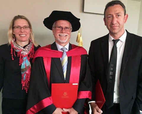 elebrating the moment with ASTech and ACROSS Director, Prof Brett Paull (right) and Andrew's partner Dr Wendy Gooley (left)