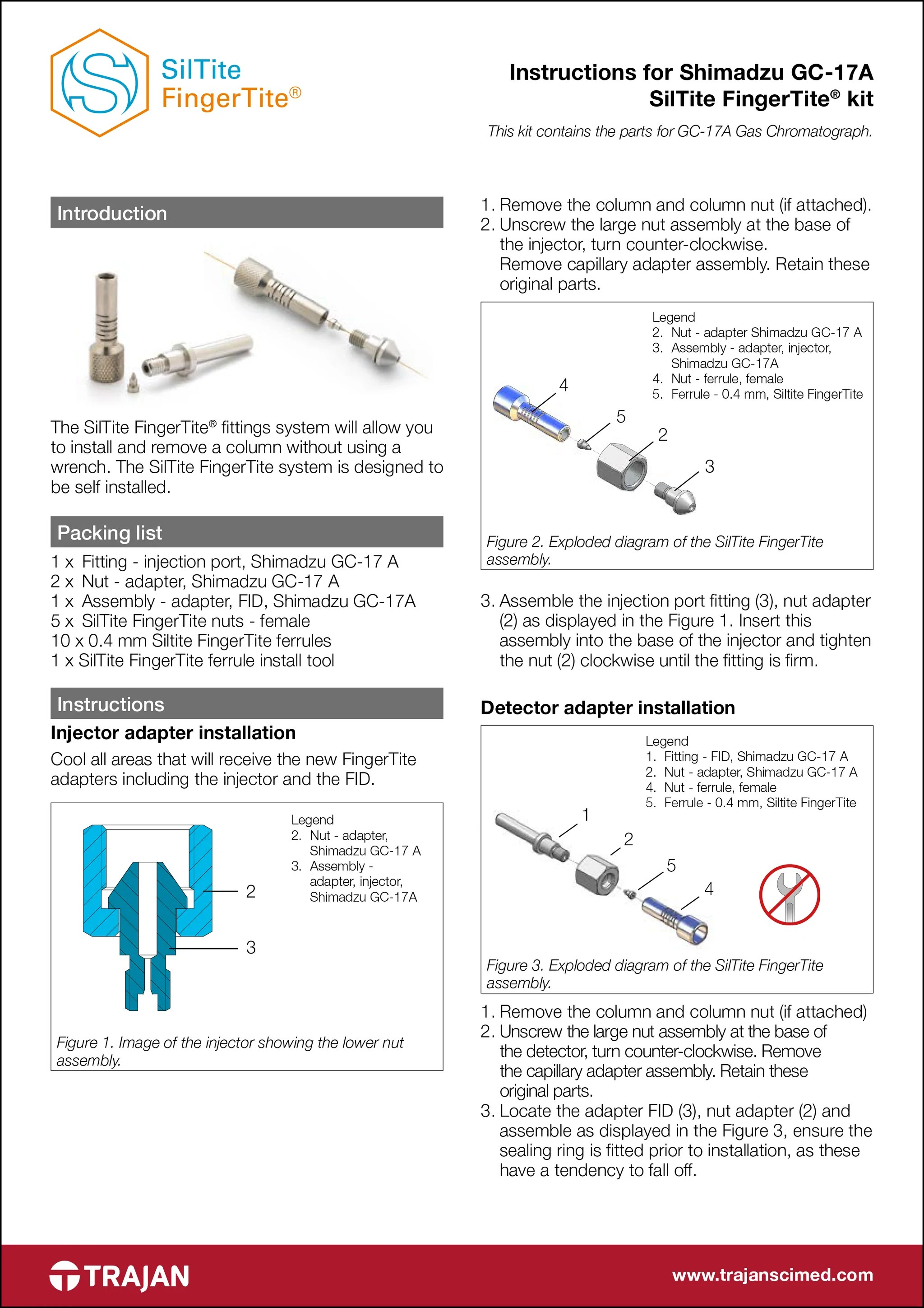 hight resolution of manual instructions for shimadzu gc 17a siltite fingertite kit
