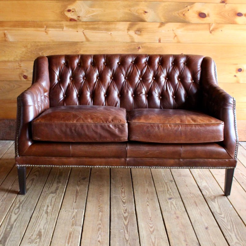 tufted brown leather sofa repair scottsdale macomb settee dartbrook rustic goods two cushion love seat