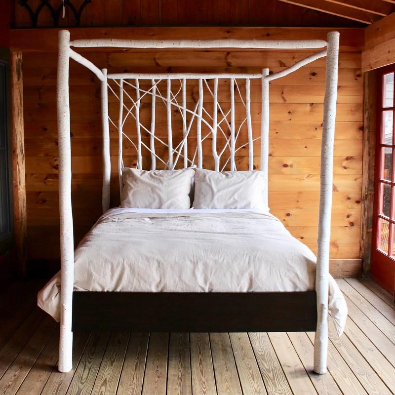 Algonquin Canopy Bed In Faux White Birch Rustic Birch