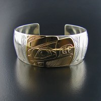 Eagle Silver and Gold 1 Inch Bracelet - Native Jewelry ...