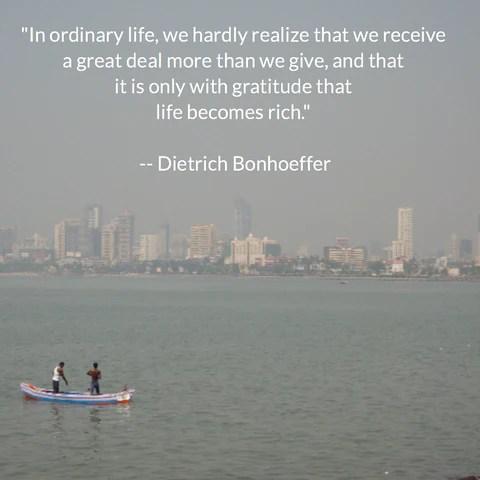 Dietrich Bonhoeffer on Gratefulness