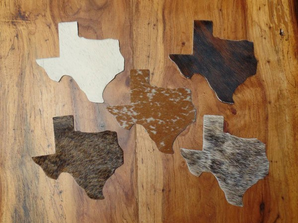 Texas Shaped Cowhide Coasters  Yee Haw Ranch Outfitters