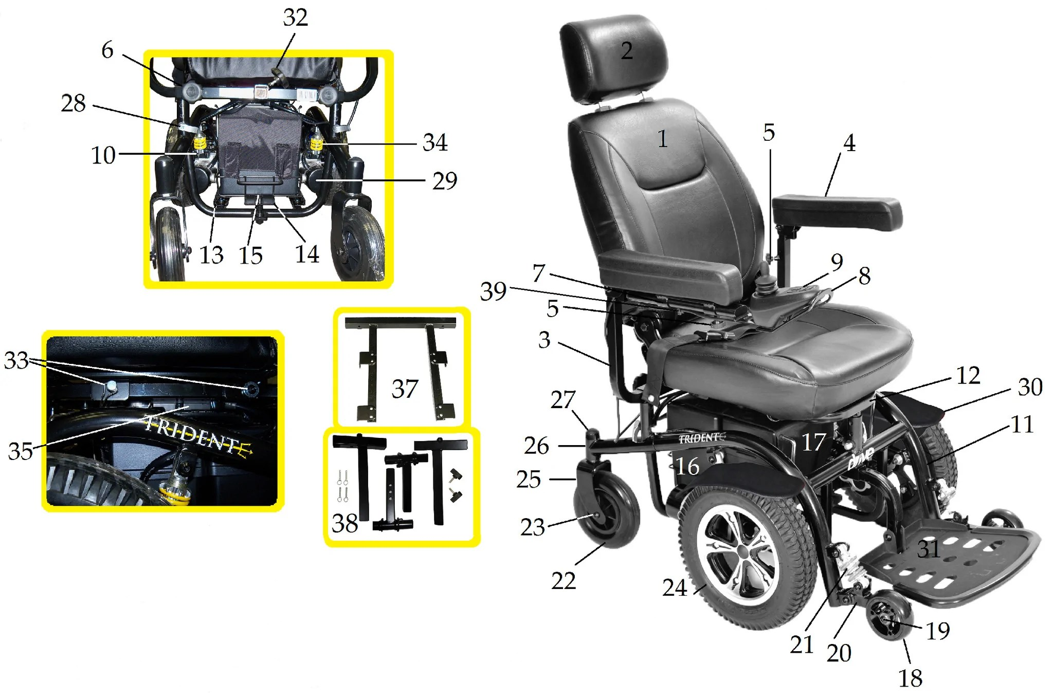 Power Chair Repair Replacement Parts For Trident Power Wheelchair Csa