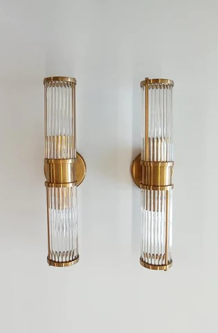 pair of ralph lauren brass and glass sconces in the style of venini circa 1990 s