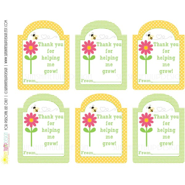 Printable Teacher Appreciation Gift Tags Thank You For