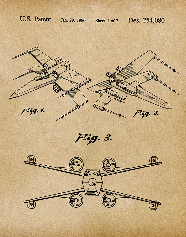 X Wing Fighter Drawing : fighter, drawing, Fighter, Patent, Print, Parchment, Fresh, Prints