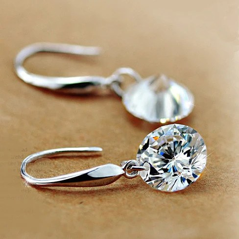 Drilled Crystal Diamond earrings with 925 Sterling Silver
