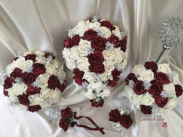 Burgundy Glitter Rose With Silver Babies Breath  GroovyRuby Ltd