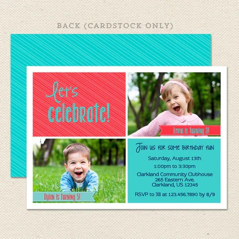 Invitation for triple celebration dulahotw joint birthday party invitations page 3 lil sprout greetings m4hsunfo