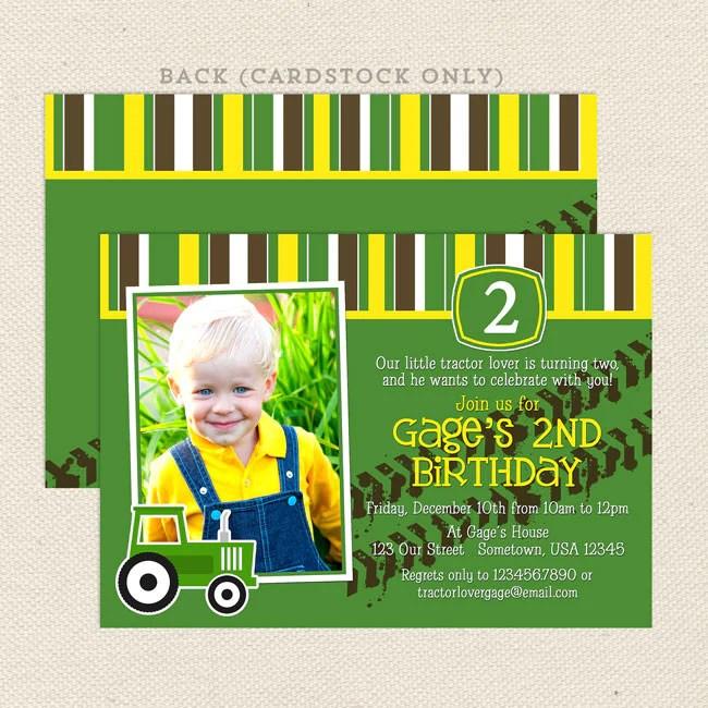 tractor boy birthday invitations lil