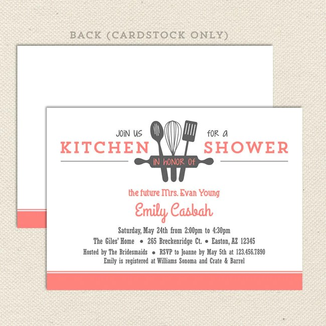 kitchen bridal shower corner shelf invitations lil sprout greetings