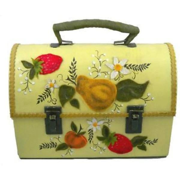 Vintage Green Metal Lunch Box Purse Fruit Appliqu 1970 S