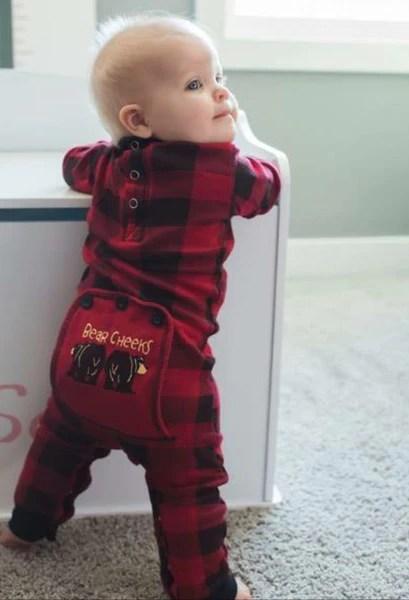 Baby Buffalo Plaid Bear Cheeks Lazy One Pajamas  Bear Cheeks Matching PJS for Kids