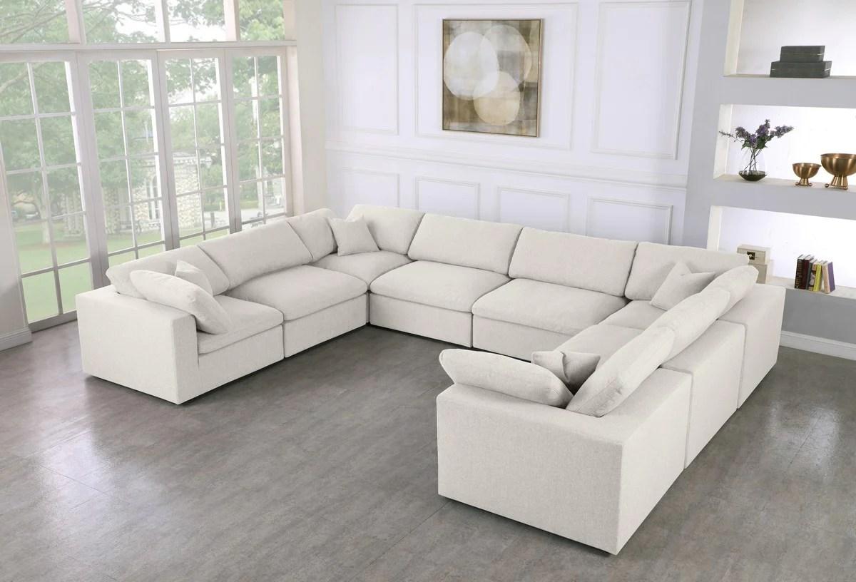 meridian furniture serene cream linen