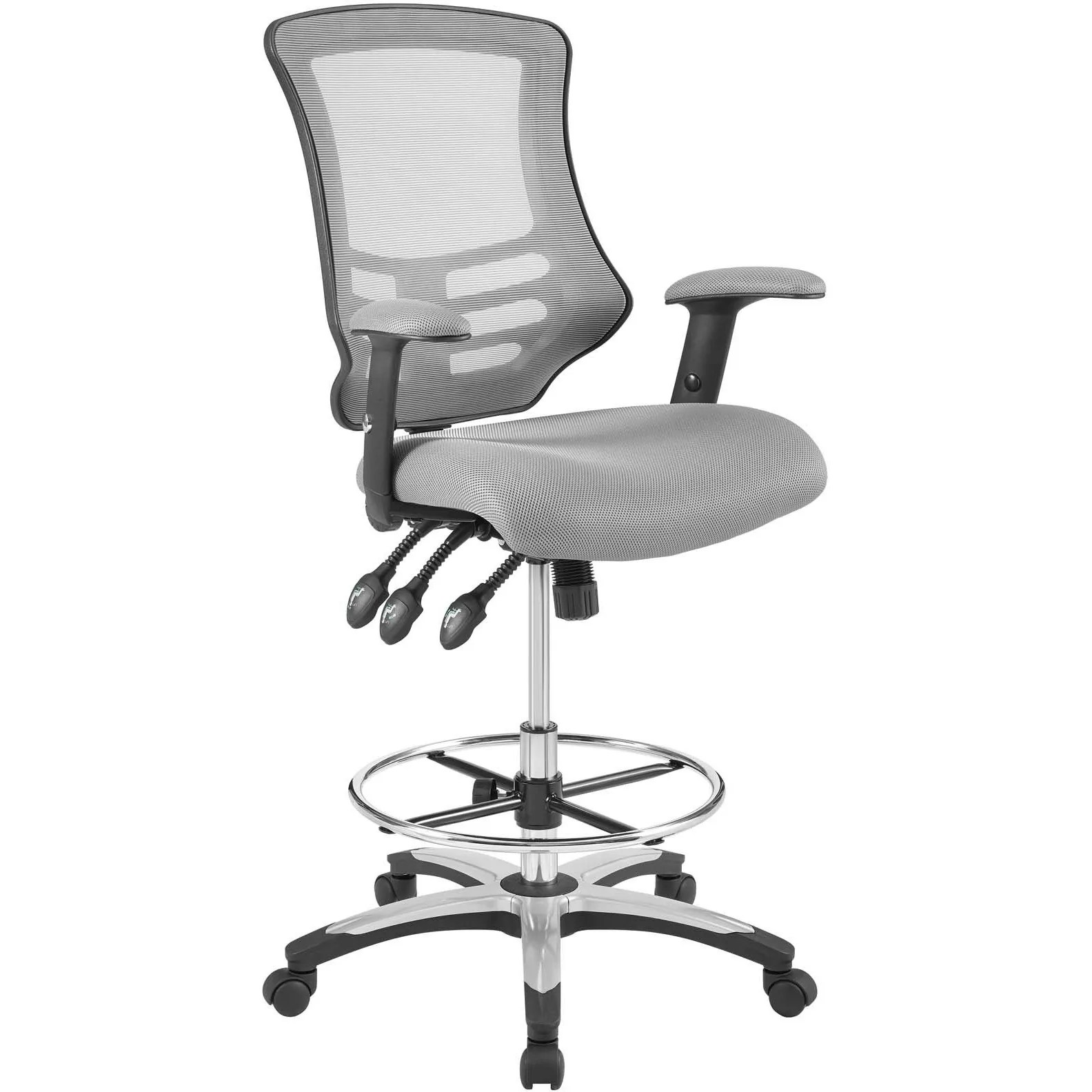 modern drafting chair double papasan replacement cushion modway furniture calibrate mesh eei 3043