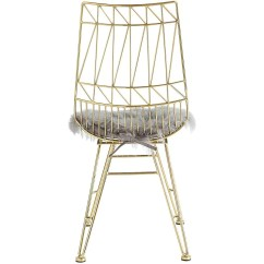 Steel Chair Gold Tufted Upholstered Tov Furniture Modern Allure With Grey Sheepskin Seat Set Of 2