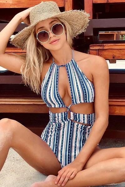 Boho Stripe Halter Cutout One-Piece Swimsuit