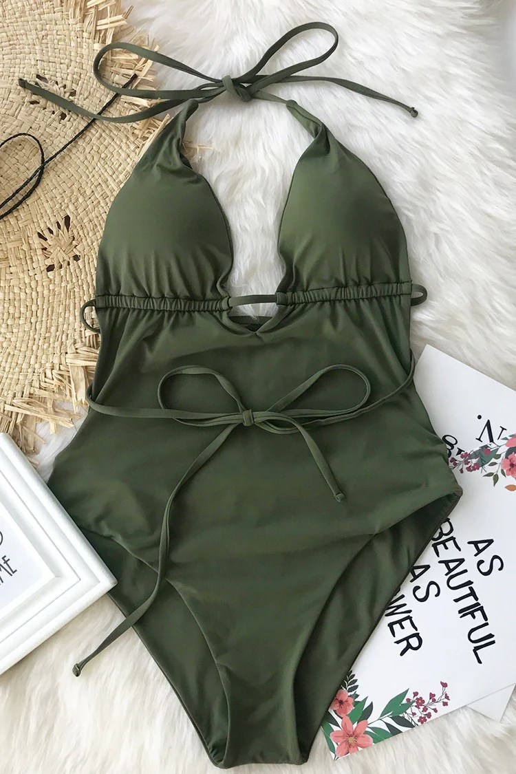 Beach Guideline Backless One-piece Swimsuit