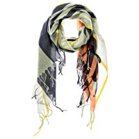 Navy + Gray Modernist Cotton Plaid Scarf by Aish