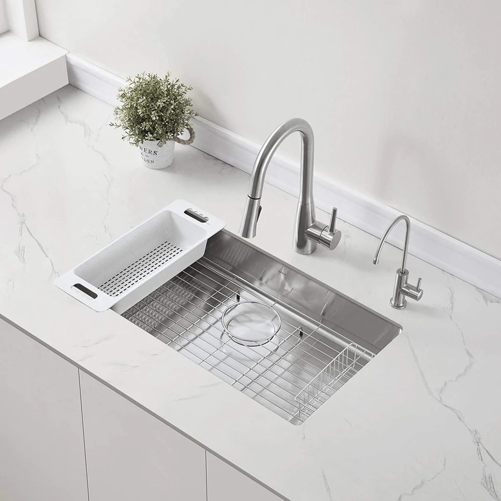 zuhne modena 30 inch ada undermount kitchen sink with accessories 16 gauge 5 5 shallow single bowl for 33 cabinet