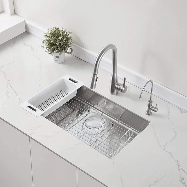 zuhne modena 23 inch ada undermount kitchen sink with accessories 16 gauge 5 5 shallow single bowl for 27 cabinet
