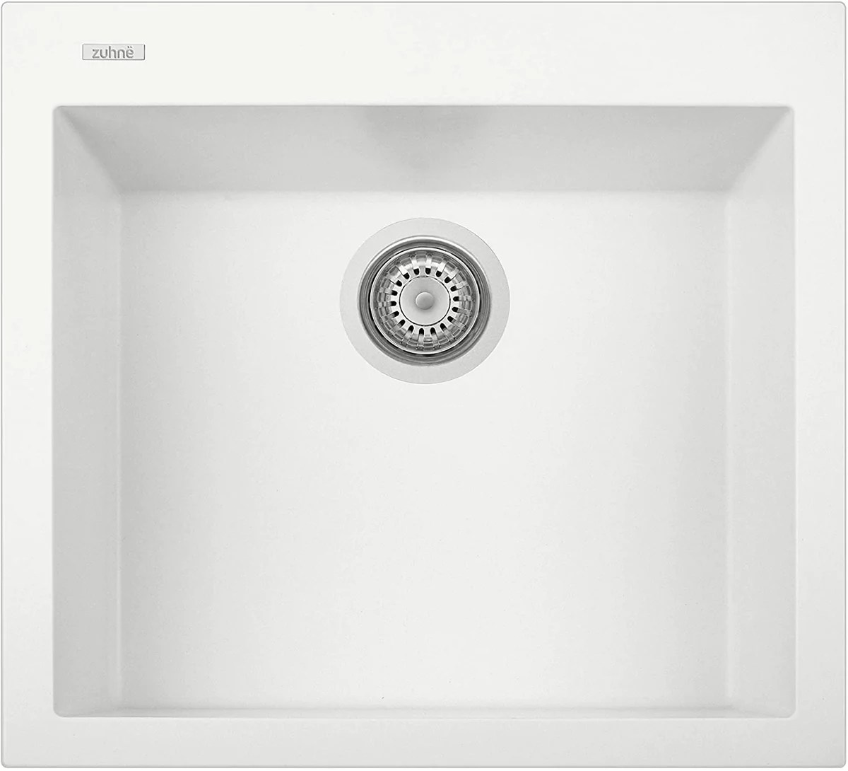 zuhne pure white under mount or drop in single kitchen sink with drain strainer made in italy