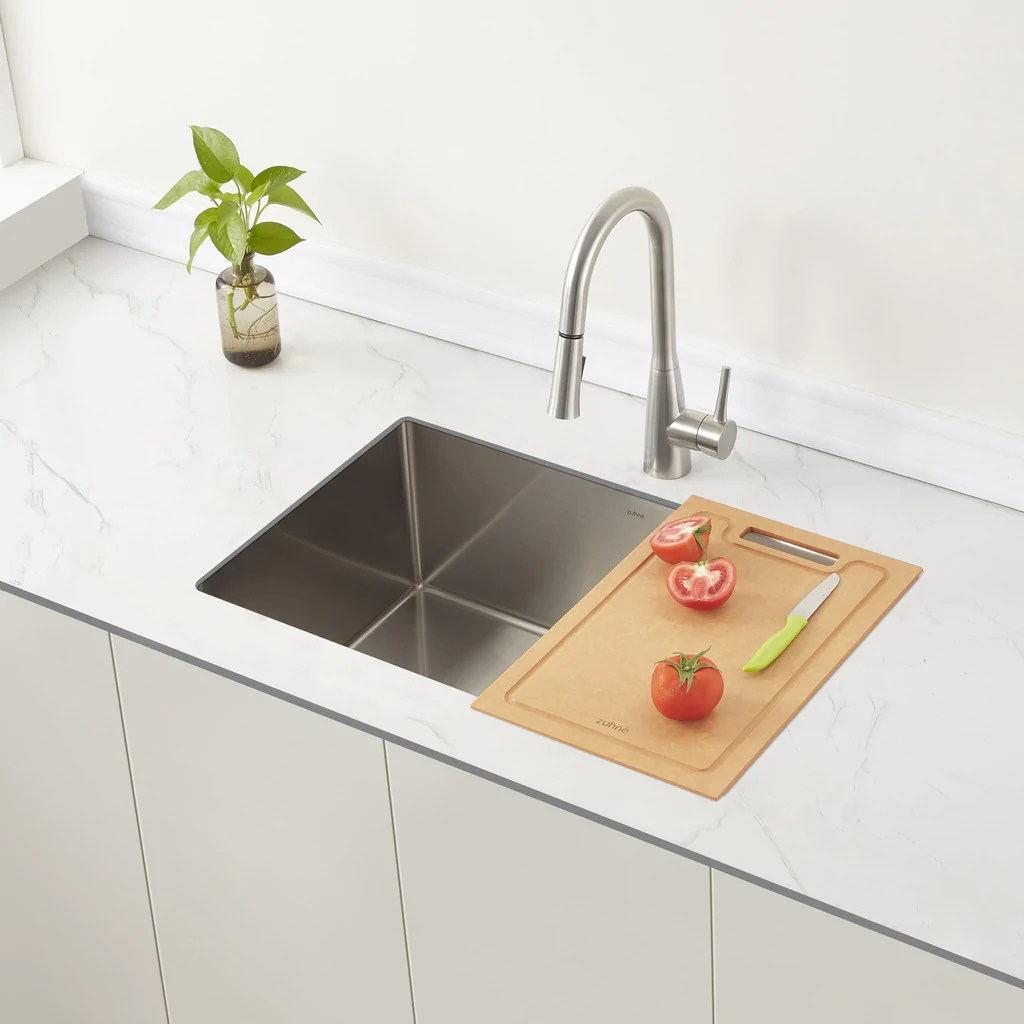 reeva over the sink large cutting board for undermount or drop in kitchen sink