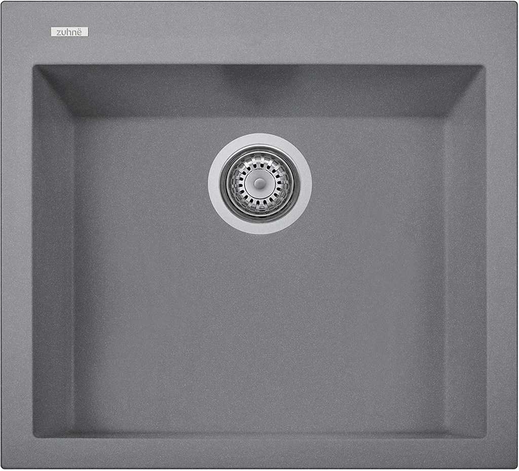 zuhne gray granite under mount or drop in single kitchen sink with drain strainer made in italy 22x20