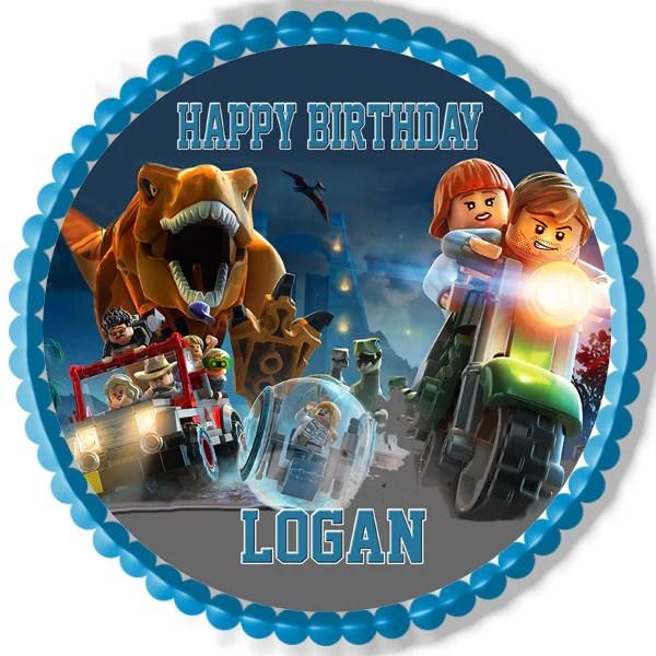 Jurassic World Dinosaur Lego Edible Cake Topper  Cupcake Toppers  Edible Prints On Cake EPoC
