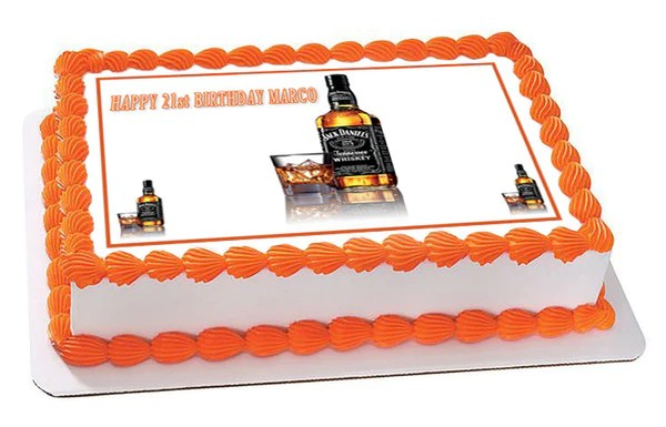 Whiskey Bottle Edible Birthday Cake OR Cupcake Topper