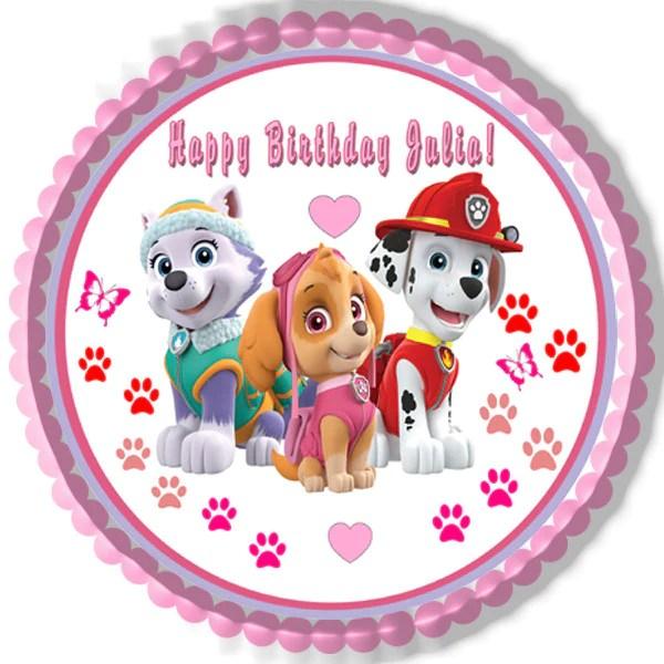 Paw Patrol Girls Edible Birthday Cake OR Cupcake Topper