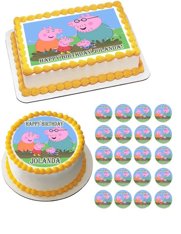 Peppa Pig 2 Edible Birthday Cake Topper Or Cupcake Topper Decor