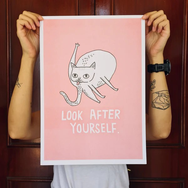 A3 Look After Yourself Riso Print – Cat Socrates Online