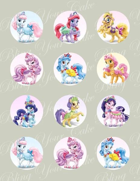 Disney Princess Palace Pets Ponies Edible Icing Cupcake