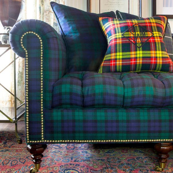 Inverness Sofa in Blackwatch Tartan  Scot Meacham Wood Home