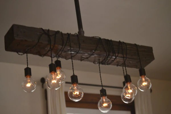 Wood Beam Chandelier  West Ninth Vintage