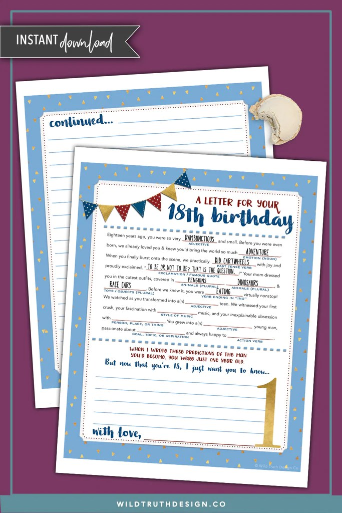 Boys First Birthday Time Capsule Letter Mad Lib Printable
