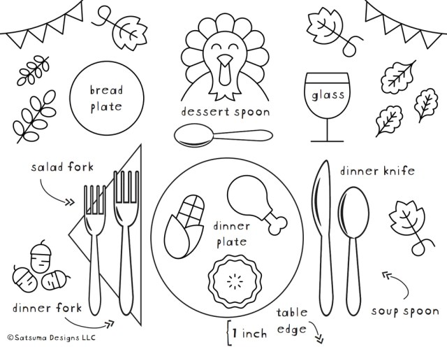 How to Set a Thanksgiving Table Coloring Page