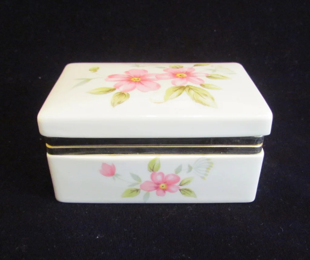 ceramic kitchen top japanese knives vintage box jewelry trinket floral ...