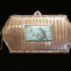 Unique Kitchen Accessories Replacement Drawer Box Guilloche Enamel Compact Purse 1920's Hand Painted Bird ...