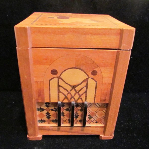 1940s Dog Cigarette Dispenser Wooden Box Occupied Japan