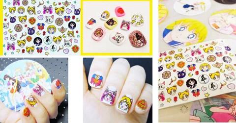 kawaii sailor moon pattern nail