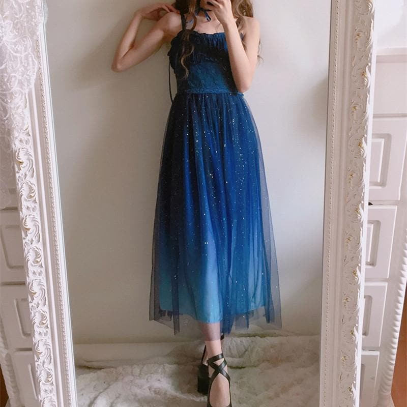 Free Shipping Galaxy BlueBlack Starry Fairy Dress