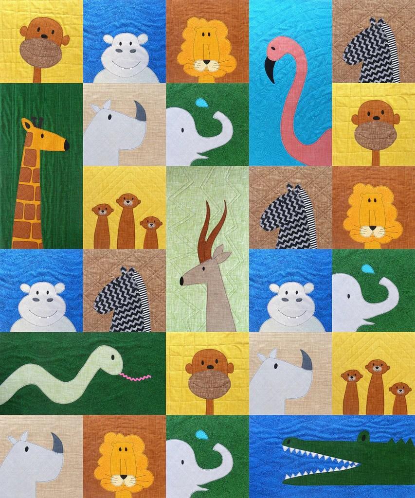 Animal Quilting Patterns : animal, quilting, patterns, Safari, Applique, Quilt, Pattern, Shiny, Happy, World