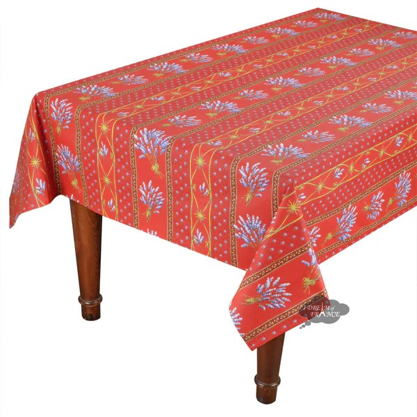 52x72 Lavender Red Cotton Coated Provence Tablecloth I