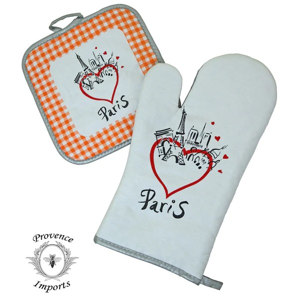french country kitchen chair pads target vibrating baby paris bistro cotton oven mitt and pot holder set - orange i dream of france