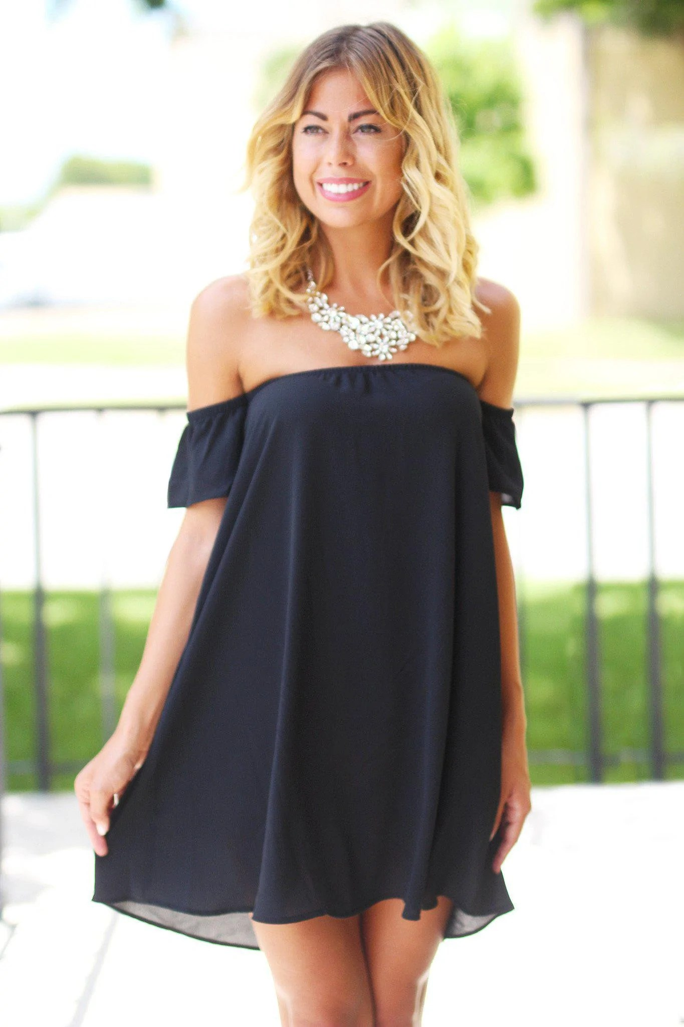 Off the Shoulder Short Sleeve Black Dress