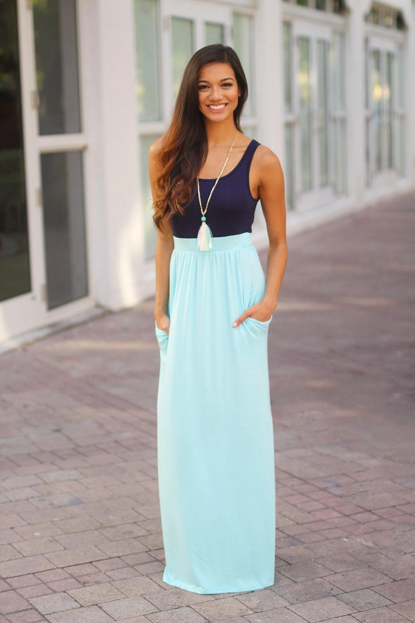 Navy And Blue Maxi Dress With Pockets Casual