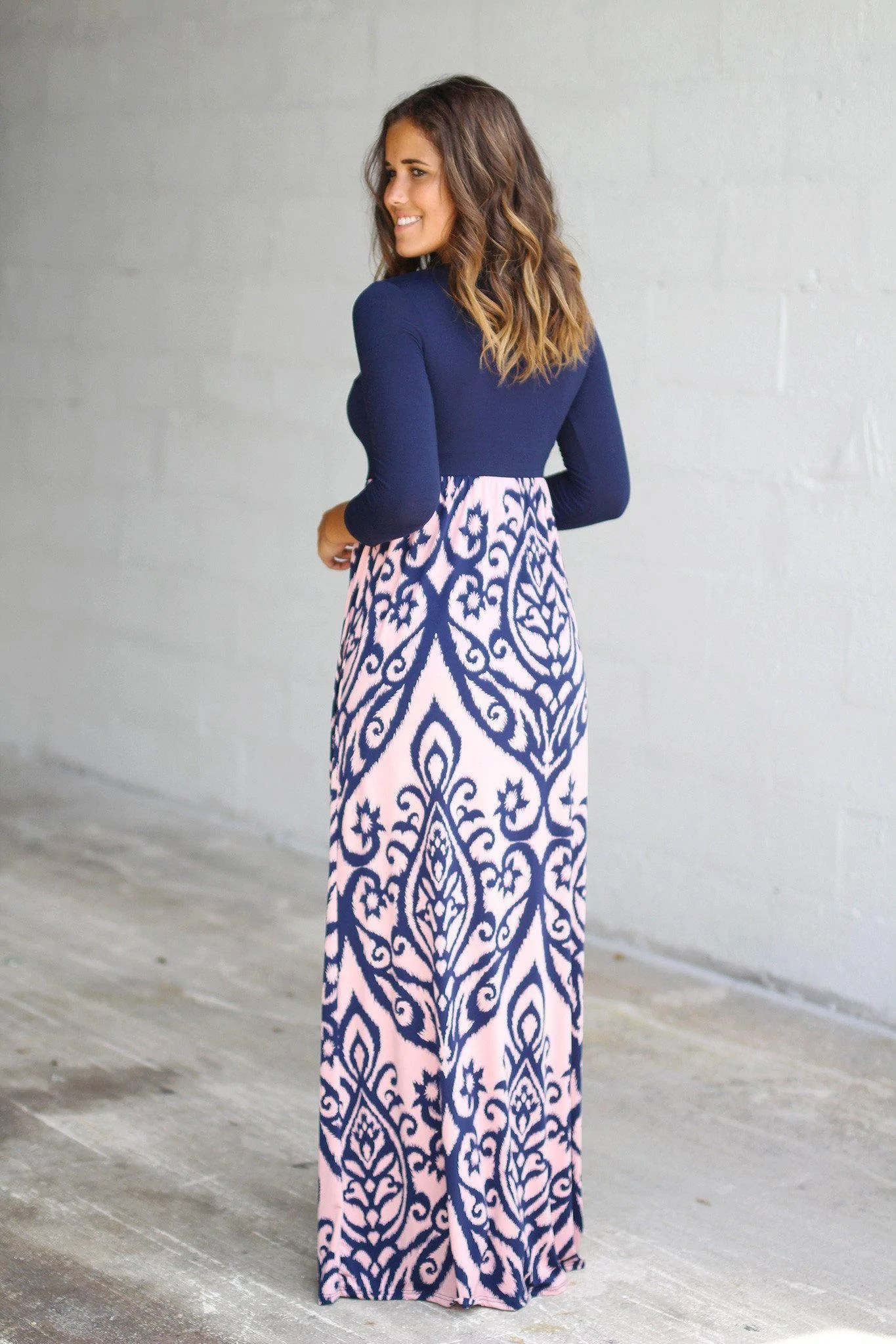 Navy and Pink Maxi Dresses
